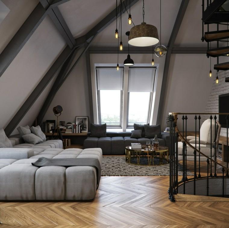 planchers loft plafond en bois idées de canapé gris
