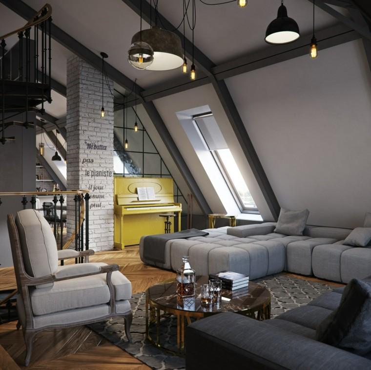 planchers loft colonne brique blanche piano idées jaunes