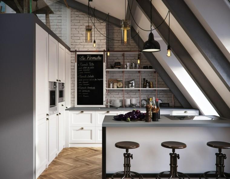 plancher de cuisine loft idées de mur de brique blanche
