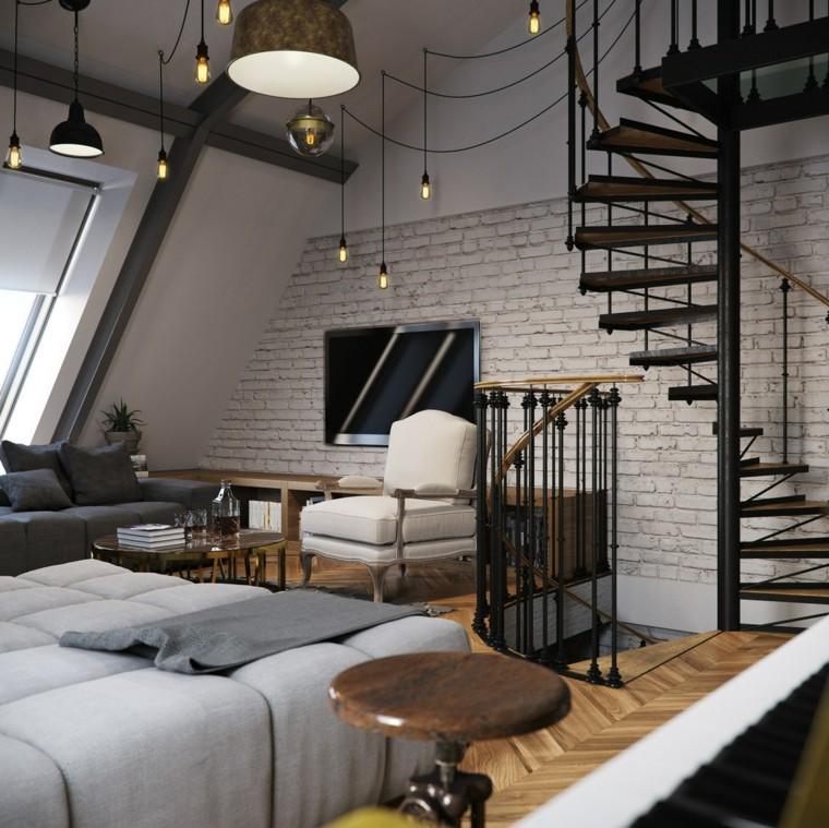 planchers loft mur tv idées de briques blanches