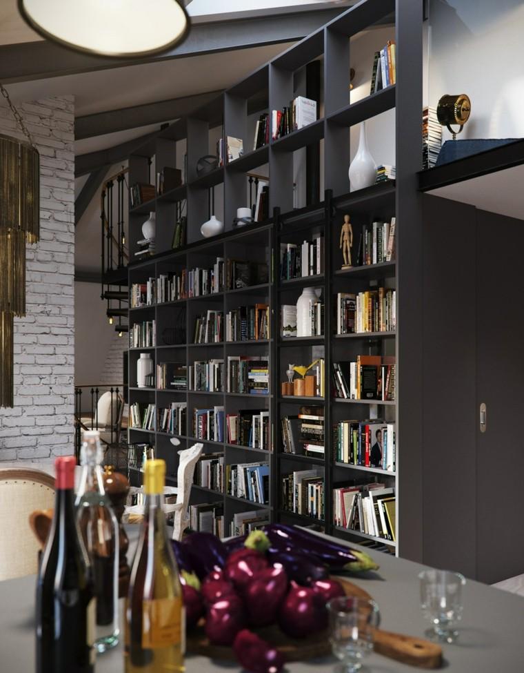 planchers étagère grandes idées en bois noir