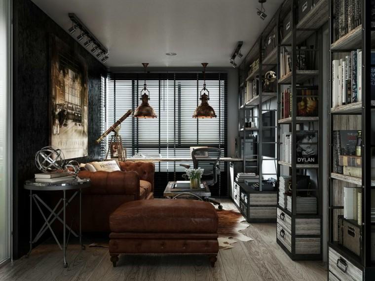 Murs de meubles de couleurs sombres idées de loft au sol