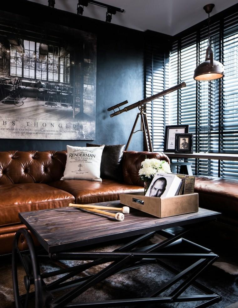 idées de design de salon loft murs sombres