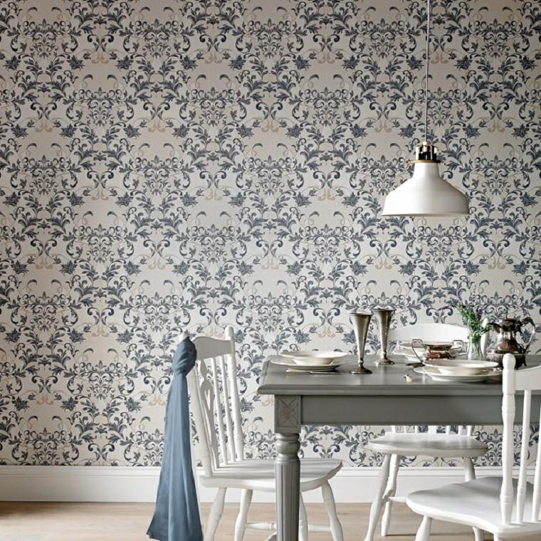 Chaises de salle à manger mur de papier baroque idées de bois