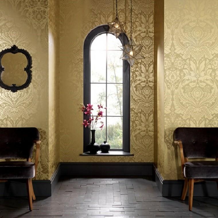 papier peint baroque couleur or idées luxueuses accrocheuses
