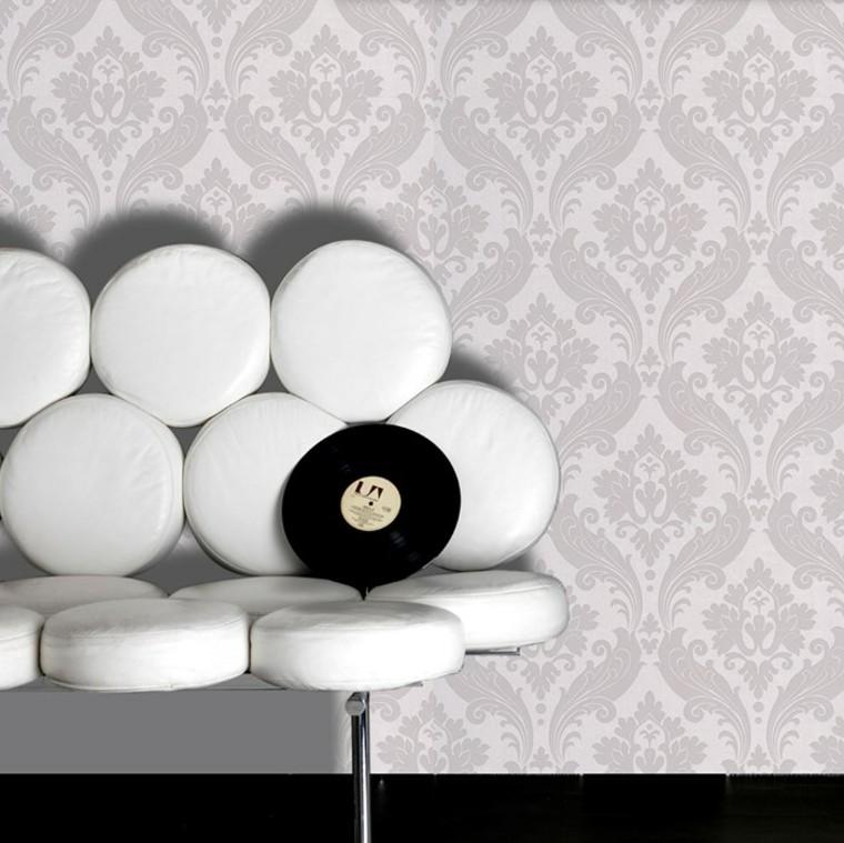 papier peint baroque idées de conception de canapé blanc