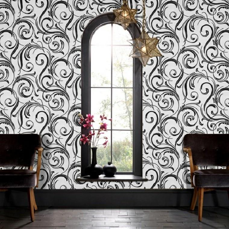 fauteuils en papier peint blanc noir idées de lampes étoiles