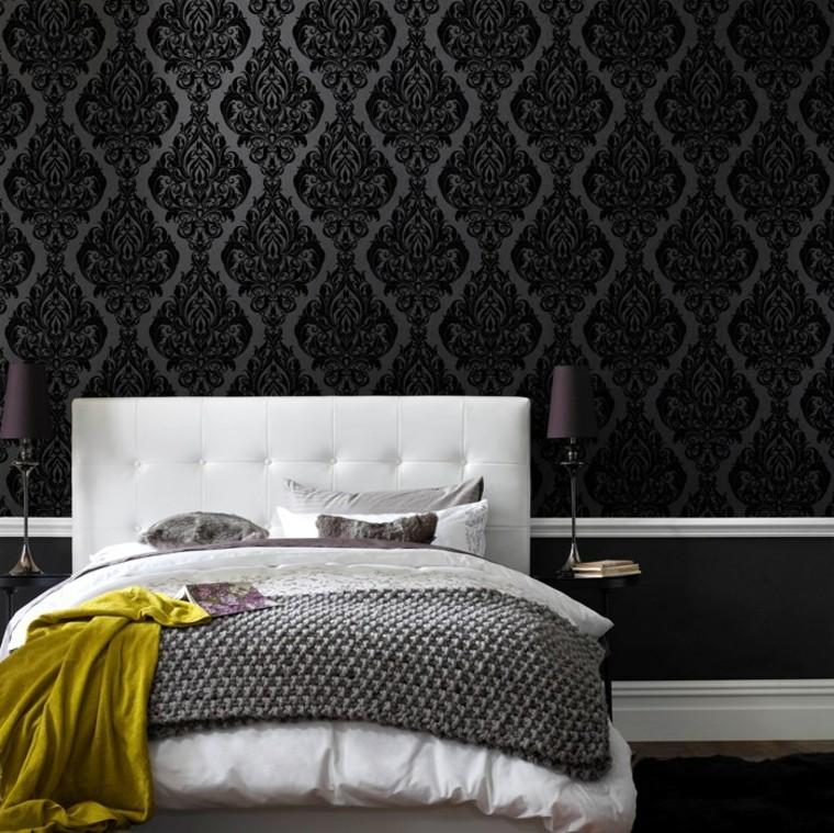 chambre à coucher papier peint noir lit idées de support blanc