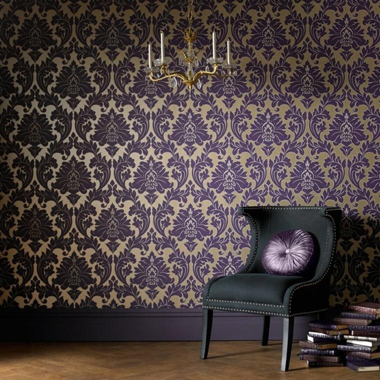 combinaison de papier peint idées d'or violet