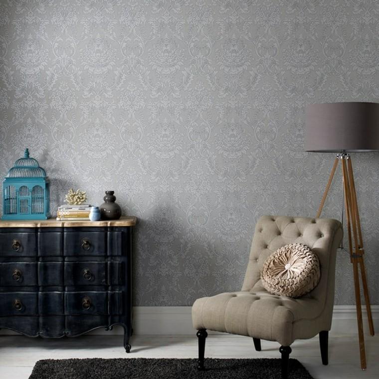 papier peint fauteuil salon lampe idées originales