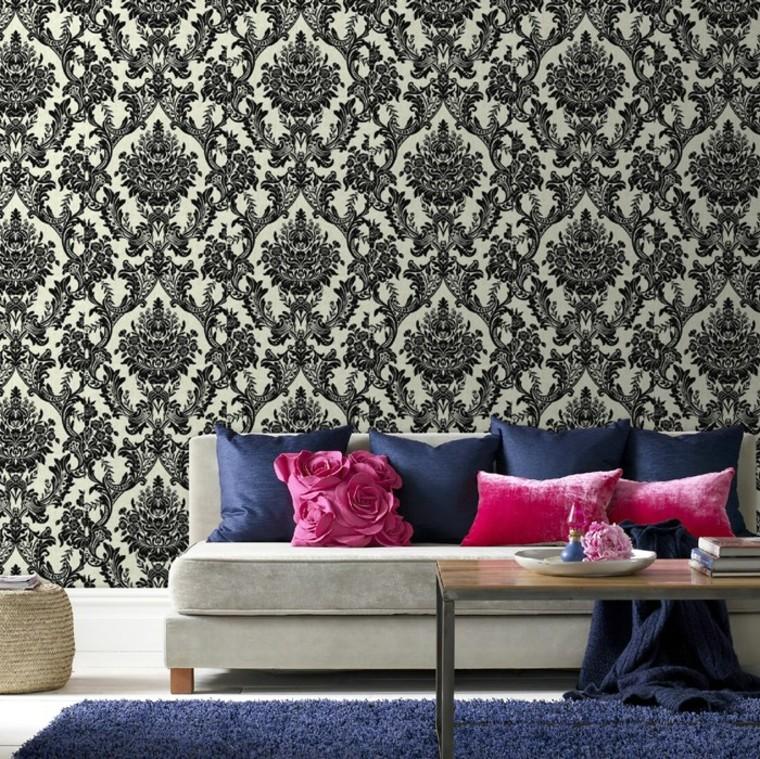 coussins de canapé en papier peint idées de couleurs vives