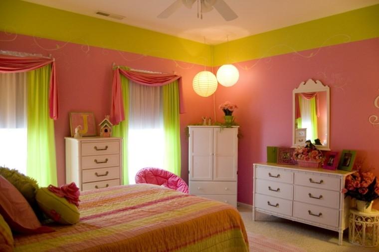 idées de chambre girly idées de mur vert rose