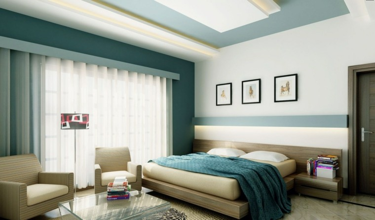 combinaison de couleurs bleu blanc chambre moderne