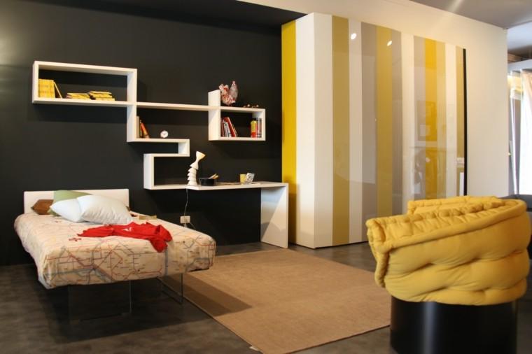couleur noir blanc mur jaune idées de chambre à coucher