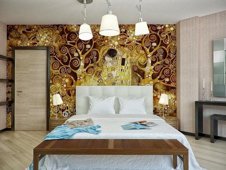 combinaisons de couleurs impressions idées mur or marron beige