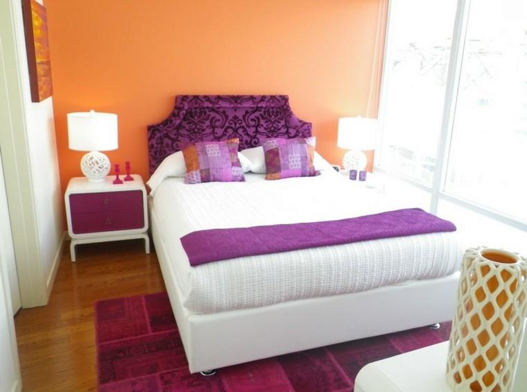 combinaisons de couleurs orange blanc violet idées de lit de dossier