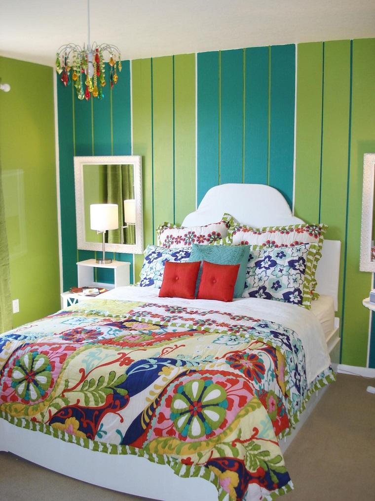 combinaison de couleurs mur bleu vert idées de chambre à coucher