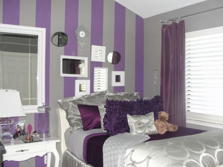 combinaison murs gris violet chambre à coucher rayures miroirs