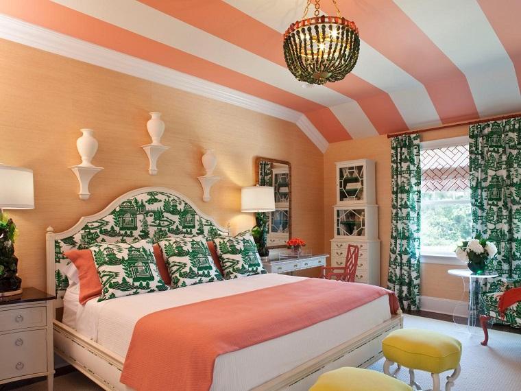combinaison de couleurs slamon idées de plafond de chambre blanche