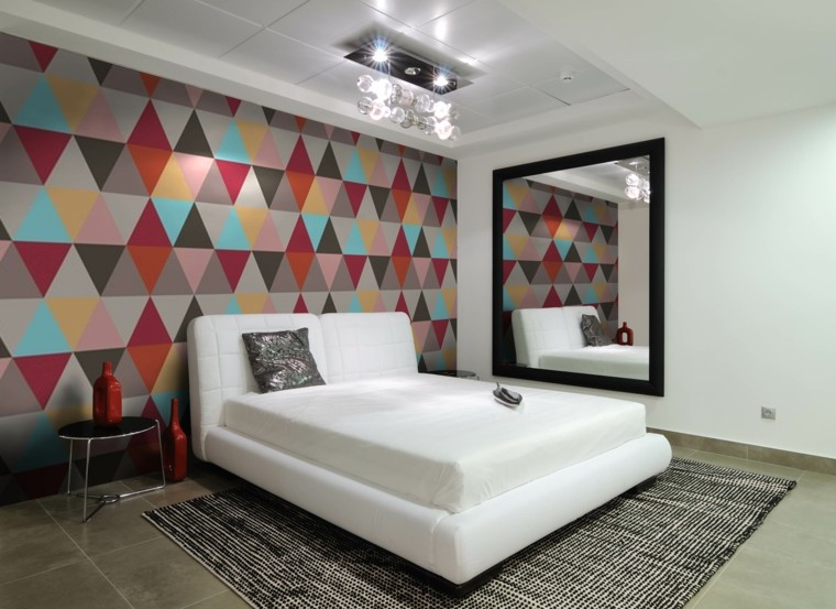 idées de mur de couleurs de figures géométriques contemporaines de chambre à coucher