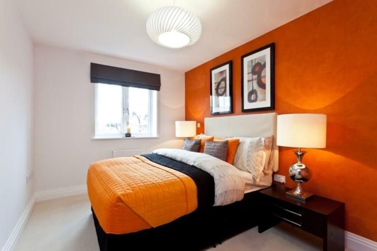 idées de murs orange blanc petite chambre