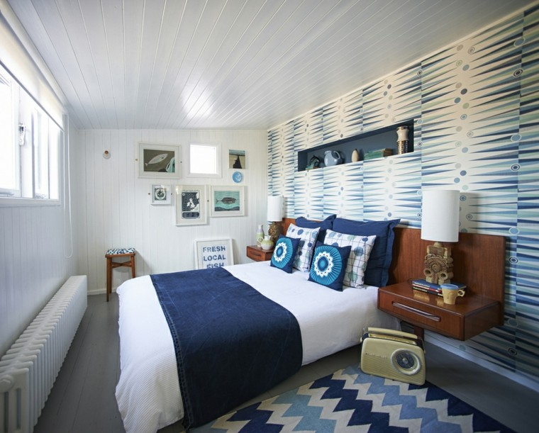petite chambre blanche bleue moderne étroite