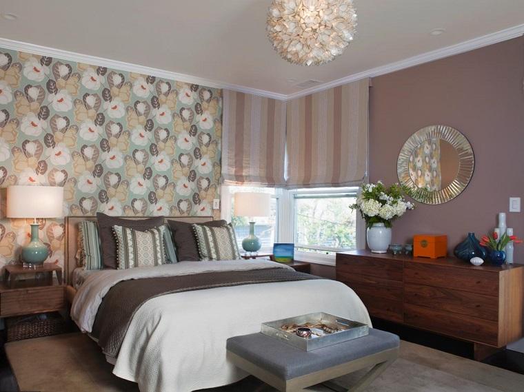 chambre à coucher papier peint imprimé floral focus design moderne