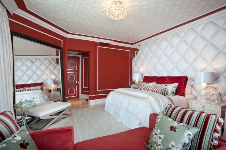 intérieur couleur rouge vif combiné des idées blanches
