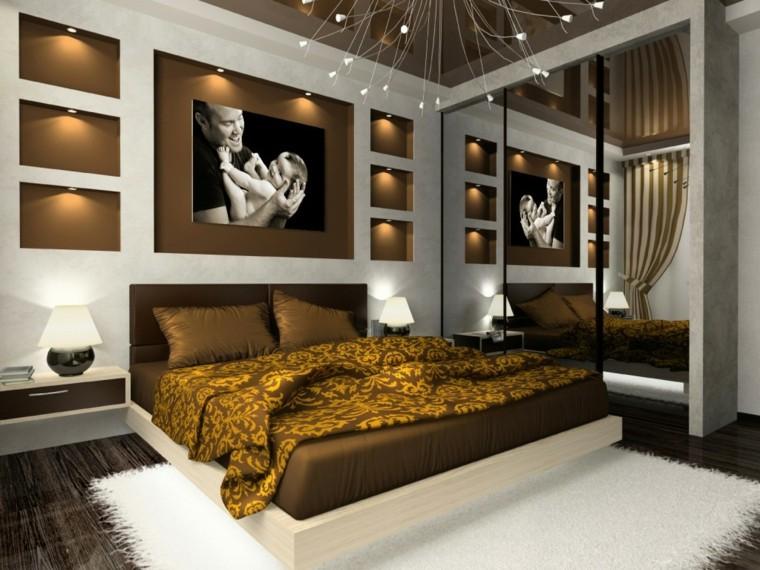 idées de chambre à coucher brun blanc de style luxueux
