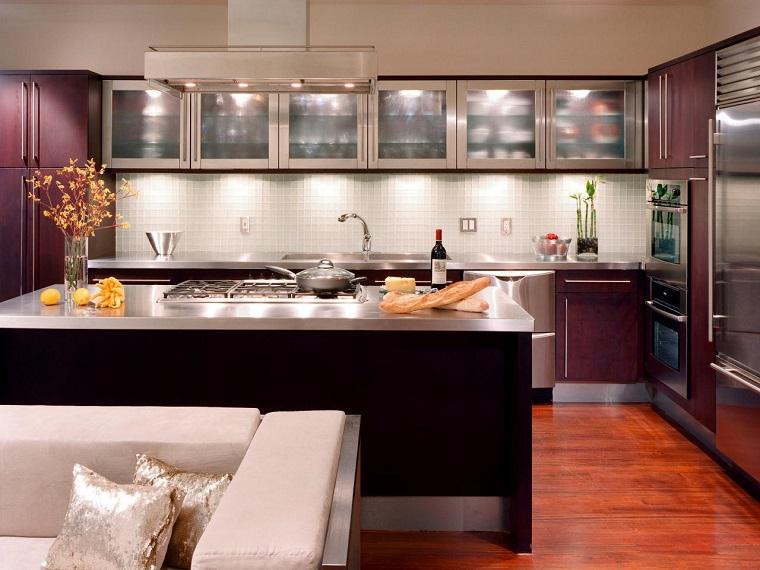 comment concevoir des armoires murales de cuisine idées de grand îlot en acier