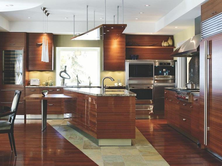meuble de cuisine avec îlot mural idées de bois moderne