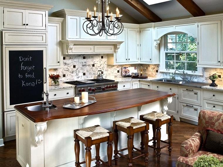 petit îlot de cuisine avec comptoir en bois idées d'armoires blanches