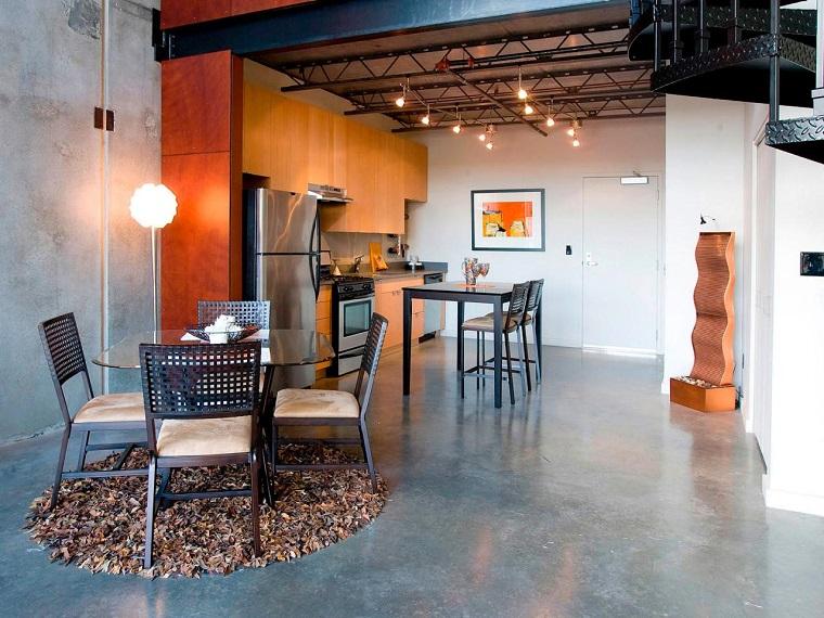 cuisine moderne mur gris meubles orange idées larges