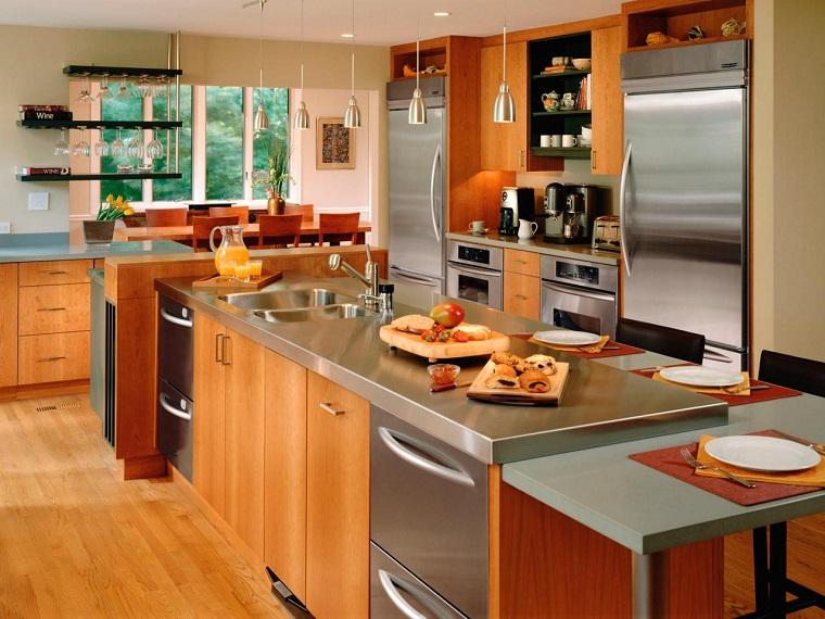 cuisines modernes comptoirs en acier inoxydable idées d'armoires en bois