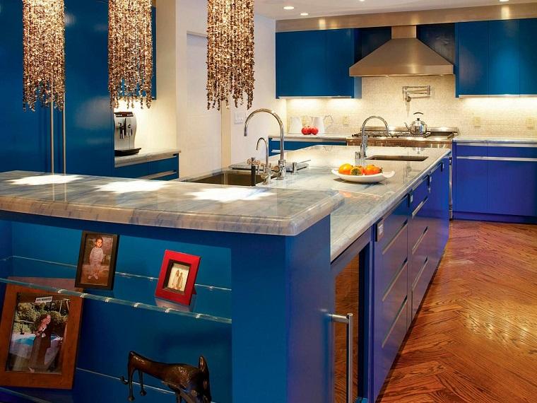 comment concevoir un plan de travail de cuisine en marbre bleu