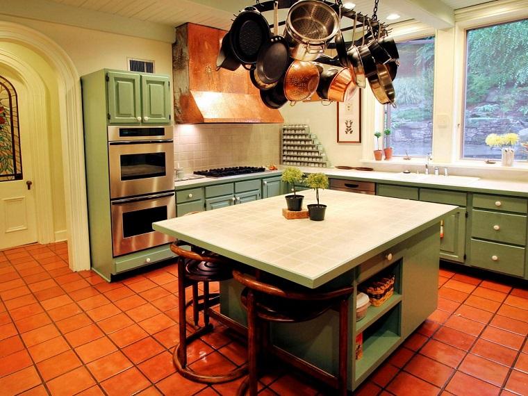 comment concevoir un meuble d'îlot de cuisine couleur vert idées