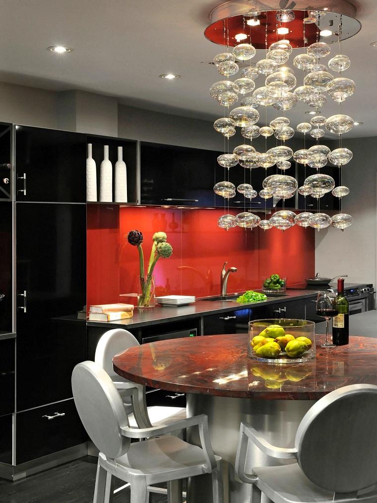 comment concevoir une cuisine idées de meubles rouge noir