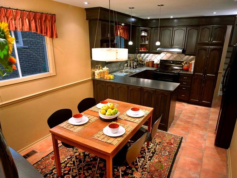 meubles en bois brun foncé idées de cuisine design moderne