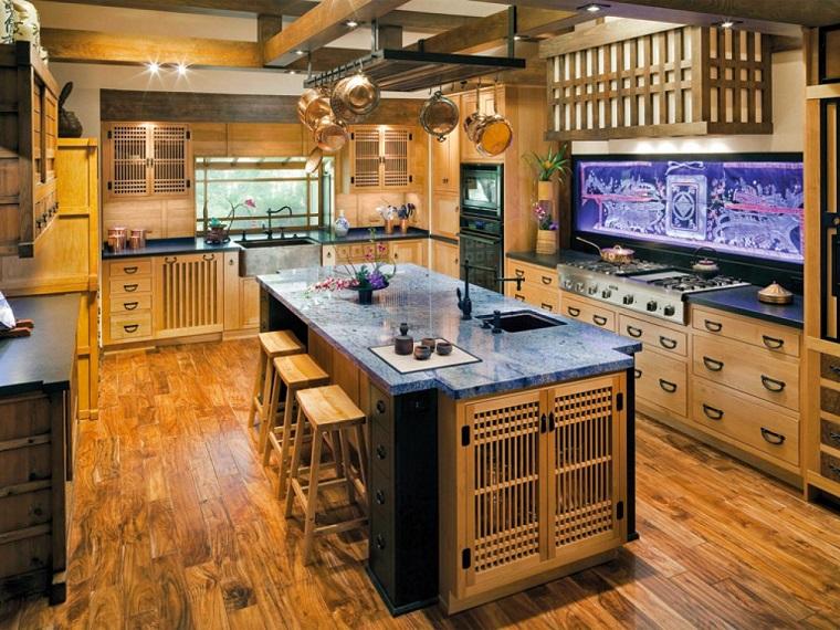chaise en bois îlot en verre idées de comptoir de cuisine moderne