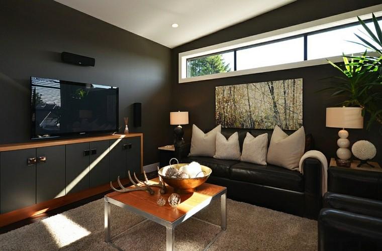 design salons cornes de chasse en cuir noir
