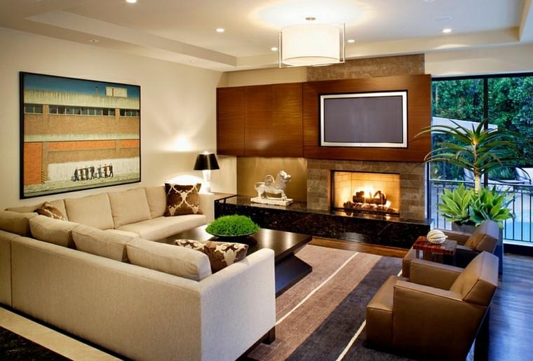 table de tapis rayures plantes de salon design