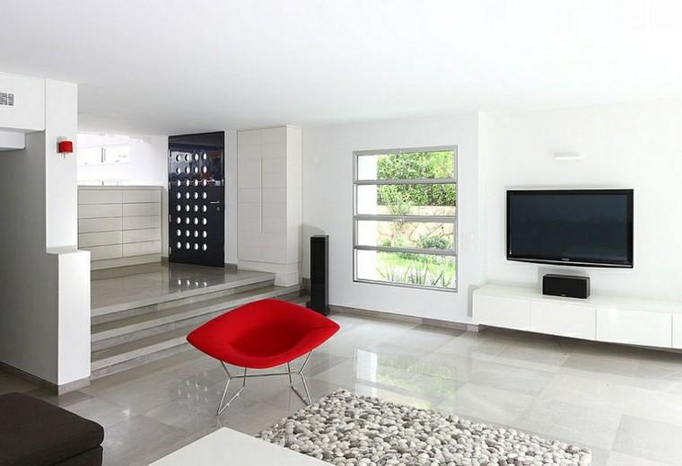 salon design rouge fauteuil moderne minimaliste