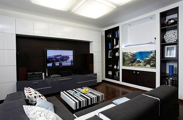 salon design rayures bois blanc viril