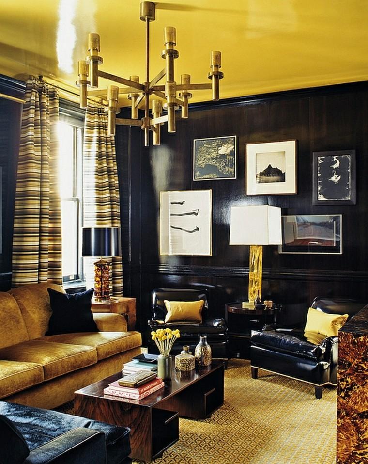 rideaux de salon noir luxueux or