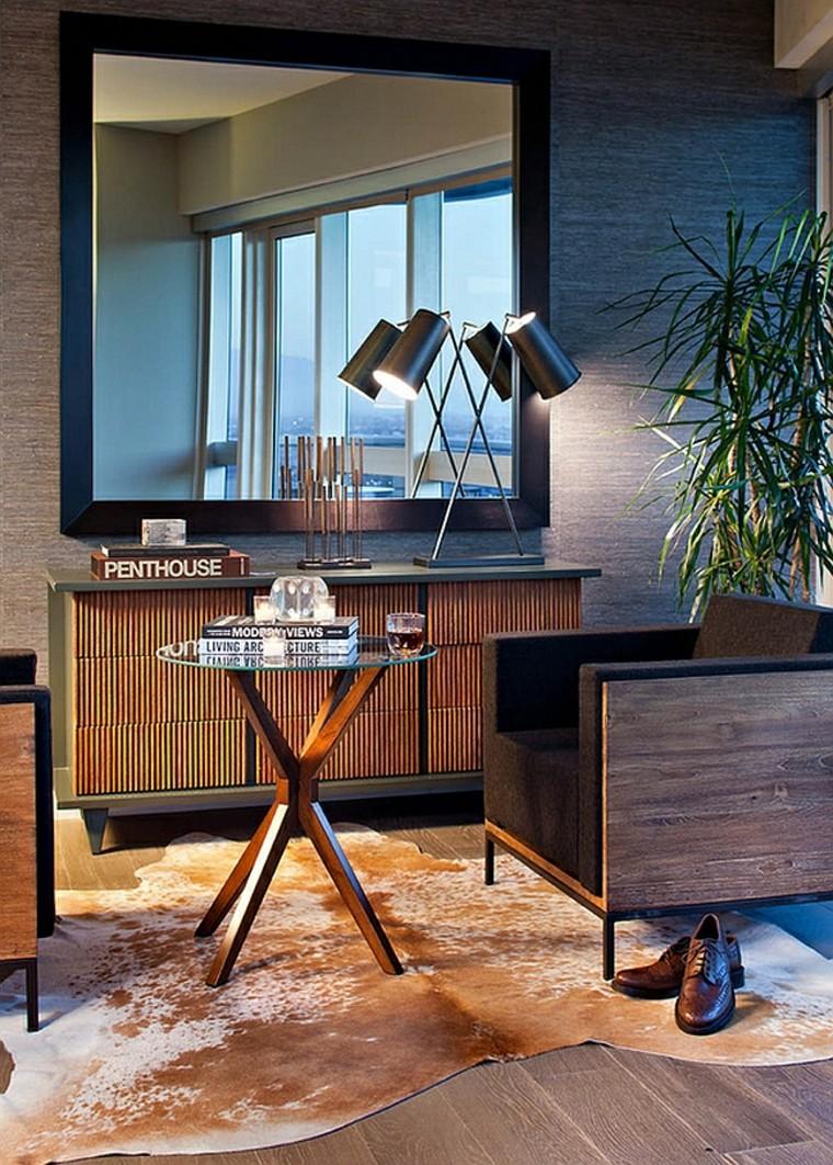lampes en cuir de luxe peaux de bois
