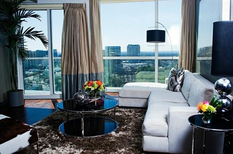 rideaux de plantes de table de tapis de fourrure