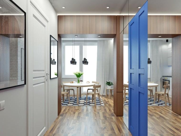 Petits appartements parquets en bois naturel idées grande entrée miroir