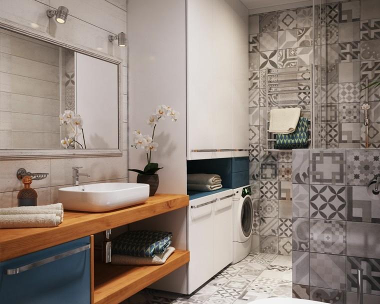 grand meuble de salle de bain à poser vasque en bois design