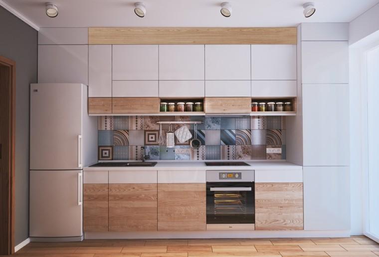 idee petite cuisine design bois gris clair