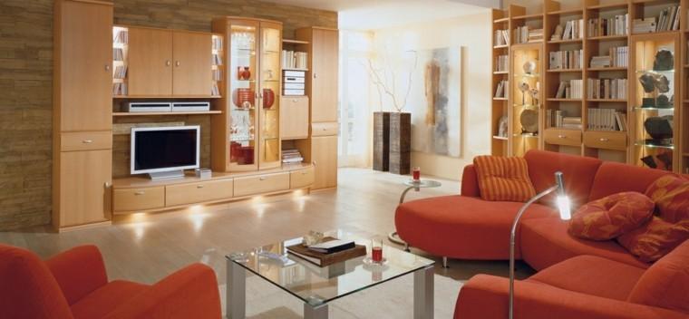 salon moderne idées de meubles orange vif